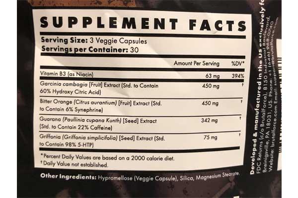 Ccut ingredient label